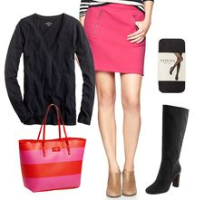Brighten up your blacks with pops of hot pink...plus, you can work this skirt from February well into the summer.