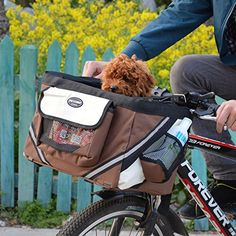 Portable Pet dog bicycle carrier bag basket Puppy Dog Cat Travel bike carrier Seat bag for small dog Products Travel Accessories ** Shop 4 Xmas n Locate this beautiful piece simply by clicking the VISIT button. Dog Bike Carrier, Pet Carrier Bag, Puppy Carrier, Pet Travel, Travel Bag, Pet Bike Basket, Cat Basket, Chihuahua, Biking With Dog