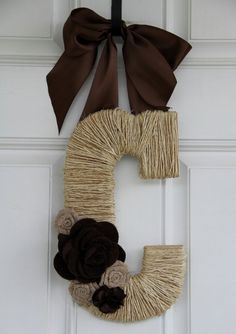 Monogram Twine Wrapped Letter-Front Door Hanger. $ 45.00, via Etsy.