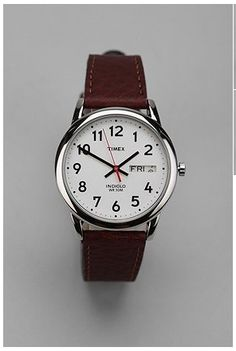 {men's watches at urban} Timex Brown Leather Easy Reader Watch Timex Indiglo, Easy Reader, Timex Watches, Men's Watches, Brown Leather Watch, Luxury Watches For Men, Street Style, Unisex, Cool Watches