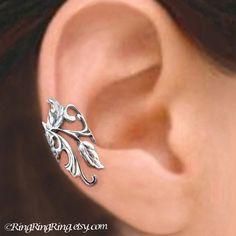 Poppy Flower Leaf ear cuffs, Sterling Silver earrings, Unique clip earcuff jewelry, Right