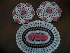 Pink rose doilie set for $60.00 Can be made to order with any color roses
