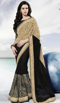 Look pretty wearing this beige and black crepe georgette saree. The lace, polka dotted and resham work looks chic and aspiration for any get together. Upon request we can make round front/back neck and short 6 inches sleeves regular sari blouse also. #AlluringCollectionOfEveningSari
