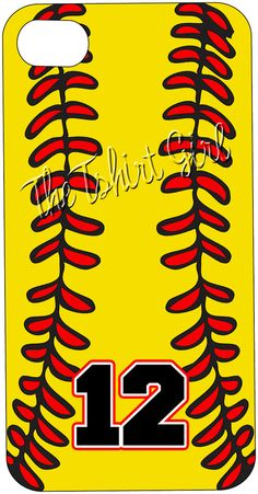 PERSONALIZED IPhone 4 4s hard Case cover SOFTBALL by iselltshirts, $25.00