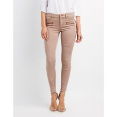 Refuge Zip-Front Pocket Skinny Jeans ($20) ❤ liked on Polyvore featuring jeans, pink, skinny fit denim jeans, mid rise skinny jeans, denim skinny jeans, stretchy skinny jeans and pink jeans