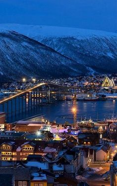 Blue hour in Tromsø, Norway by Andrea Schwyter More Mehr Tromso, Lofoten, Places Around The World, Around The Worlds, Norway Oslo, Beautiful Norway, Norway Travel, Norway Camping, Visit Norway