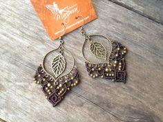 Micro macrame earrings in chocolate brown by creationsmariposa, $30.00