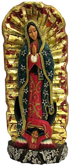 Hand Carved Virgin of #Guadalupe with Silver #Milagros