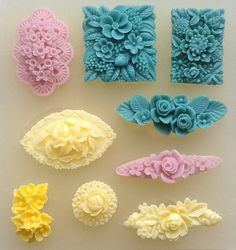 Flower Motifs set of 9 - SILICONE MOULD -sugarcraft, cupcake, jewellery - mold