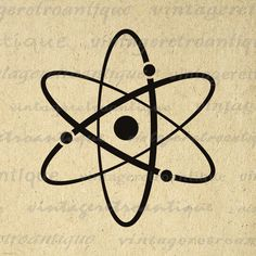Printable Atomic Symbol Image Graphic Download Atoms Science Molecules Digital Antique Clip Art. High resolution digital graphic from vintage artwork for printing, fabric transfers, and much more. Antique artwork. This digital graphic is large and high quality, size 8½ x 11 inches. Transparent background version included with all images.