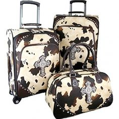 Cow print luggage!!