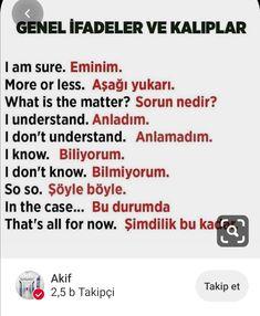 Learn Turkish Language, Arabic Language, Learn A New Language, English Words, English Grammar, English Language, Language Quotes, Language Lessons, Turkish Lessons