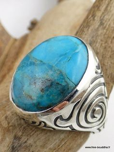 BAGUE HOMME TURQUOISE bijou pierre naturelle chakra  gorge argent qc21         69€