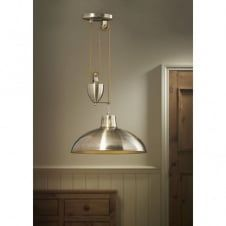 POLKA antique brass rise and fall ceiling pendant light