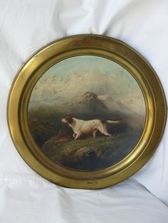 Magnificent Victorian Dog Painting English Setter Pointer 19th C