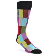 Black Multi Checkered Men's Dress Socks | boldSOCKS