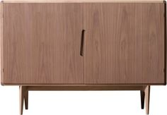 MALIBU, Walnut sideboard with 2 doors, and 1 adjustable shelf inside. Particular diagonally inlaid handles. Base frame with wooden legs with a triangular section
