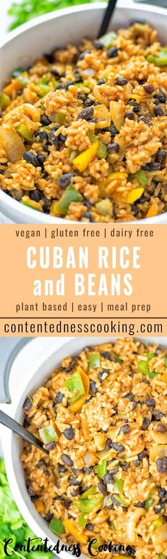 Make this simple and quick Cuban Rice and Beans today. Full of delicious spices, done in one pot, and always exciting to customize to your taste. A natural vegan and gluten free lunch or dinner. Perfect as a work or school lunch meal prep. Check out more amazing recipes on www.contentednesscooking.com #vegan #glutenfree #contentednesscooking #plantbased #dairyfree #vegetarian #mealprep #lunch #dinner #budget #beans #easyfood #cuba #worklunch