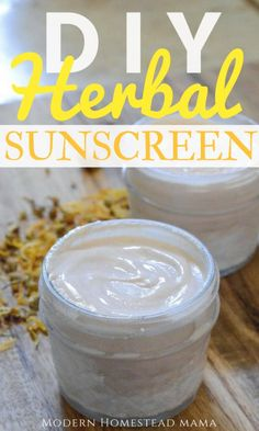 DIY Herbal Sunscreen (Safe For Kids And Babies) Modern Homestead is part of Herbalism - This DIY Herbal Sunscreen recipe is safe for kids and for babies, and it's all natural, making it perfect for sensitive skin Learn how to make my homemade Homemade Sunscreen, Homemade Moisturizer, Natural Sunscreen, Face Scrub Homemade, Homemade Skin Care, Homemade Deodorant, Homemade Shampoo, Homemade Facials, Homemade Products