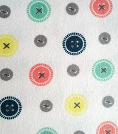 Snuggle Flannel Fabric-Buttons