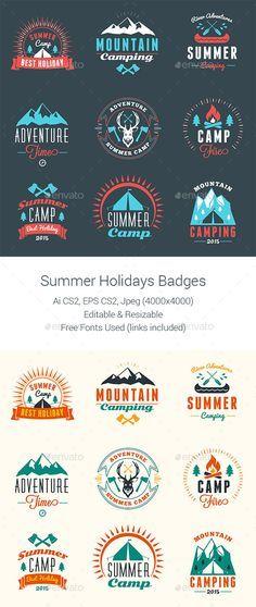 Summer Camping Badges Design #labels download: http://graphicriver.net/item/summer-camping-badges/11826174?ref=ksioks