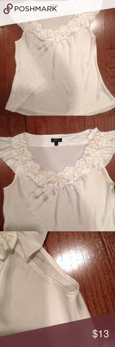 Short flutter sleeve ruffle blouse Short flutter sleeve, very loose fit bodice, EUC, product tag is last picture Spense Tops