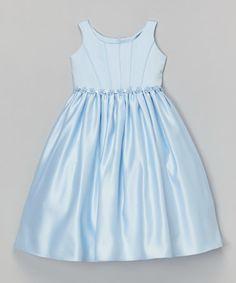 Another great find on #zulily! Sky Blue Flower A-Line Dress - Toddler & Girls #zulilyfinds