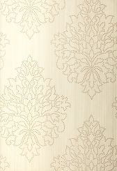 Schumacher Beaded Damask wallcovering in Alabaster