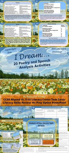 Perfect for poetry month and great for test prep as students actively use all of the following:  symbolism, simile, metaphor, personification, theme, rhyme scheme, tone, mood,main idea, context clues, compare and contrast, analysis, and paragraph writing. In 20 tasks, students analyze three dream related poems by Langston Hughes and a speech.  Looking for No Prep? Have students complete each task as it is projected. Slides can become 20 printable literacy task cards; 5-7 day literacy center.