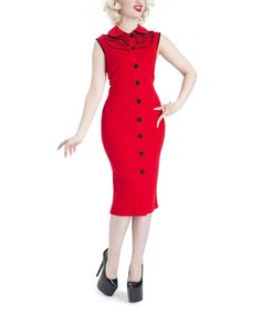 Loving this Red Sleeveless Button-Up Dress on #zulily! #zulilyfinds