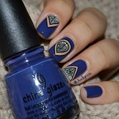 Trival design#blue-white and black nails