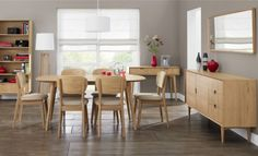 Hanover Oak Dining | Roomes. This dining set is also available with fabric chairs.