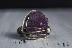 Rough Amethyst Sterling Silver Ring-Purple Amethyst Oxidised Ring-Raw Amethyst Jewelry-February Birthstone Ring-American Size 6.5