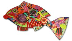 """Fish mosaics.  I did something similar to this but nothing as beautiful as these.  I'd say that a project this ambititious should be done with your upper elementary students.  It would really be a good project to use with an """"Ocean"""" unit."""