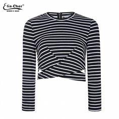 Full Sleeve T-shirt Women cut out Crop Tops  Eliacher Brand Plus Size Casual Women Clothing Chic Lady T shirt top