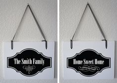 Who wants their last name on their door? Great gift, as well. Personalized Last Name and Home Sweet Home by Frameyourstory
