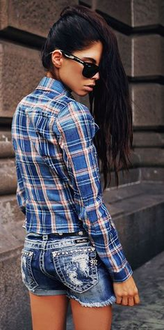 G-star Raw Blue Plaid Crop Back Shirt