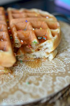 Funfetti Cake Batter Waffles - Perfect for Birthday breakfast!