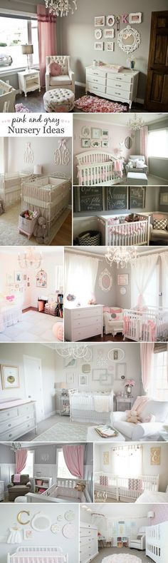 Pink and Gray Nursery Ideas - from modern to shabby chic to glam and everything in between! #decoracionderecamaras