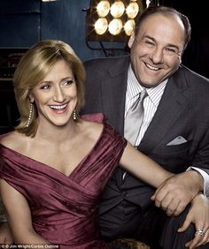 A happy couple: Falco and Gandolfini played the central couple in The Sopranos for eight years