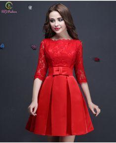 Vestido De Festa Red Lace Half Sleeved Elegant Short Evening Dresses Bridal Banquet Plus Size Prom Formal Dress Robe De Soiree