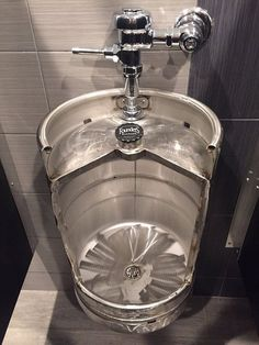 Beer Keg Urinal Stainless Novelty Toilet for Bistro Cafe Restaurant Winebar Brewery or Man Cave keg urinal Restaurant Design, Brewery Design, Pub Design, Man Cave Toilet, Man Cave Bathroom, Cafe Bar, Pub Bar, Bar Deco, Zinc Table