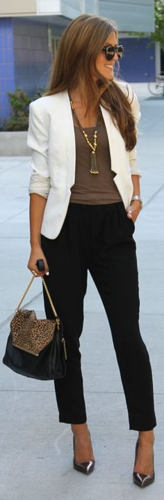 White Blazer, leopard bag, Ivanka Trump heels, necklace.