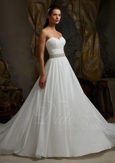 A-line Sweetheart Chiffon Court Train Wedding Dress #Wedding #Dress