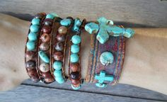 Hey, I found this really awesome Etsy listing at https://www.etsy.com/listing/226155239/brown-red-turquoise-beaded-cross
