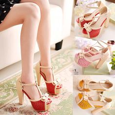 Womens Super High Heels Platform Bowknot T-strap Sandals Shoes Party Casual 1lG