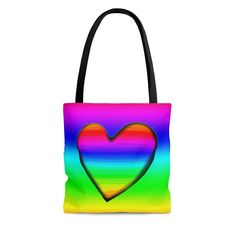 Rainbow Outfit, Rainbow Heart, Bag Sale, Black Cotton, Etsy Store, Purses, Tote Bag, Things To Sell, Trending Outfits