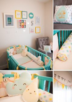 Cute unisex nursery. I love the colours & character cushions!