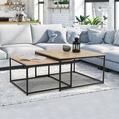 DETROIT industrial design square coffee table - 13414 - My Website 2020 Black Glass Coffee Table, Coffee Table High Gloss, Coffee Table Desk, Round Coffee Table Modern, Garden Coffee Table, Coffee Table Plans, Living Room Lounge, Wooden Side Table, Home Bedroom