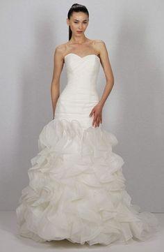 Bridal Gowns: Dennis Basso Mermaid Wedding Dress with Sweetheart Neckline and Dropped Waist Waistline
